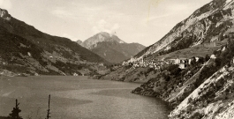 erto con il lago / erto with the lake - historic photo benvenuto ermanno, fondazione vajont